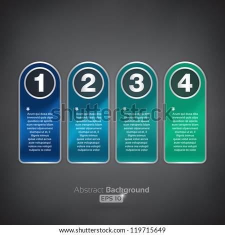 Four rounded tags - stock vector