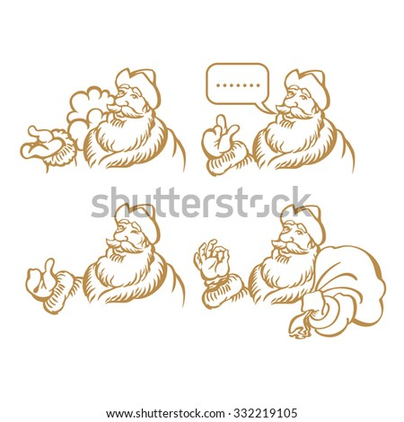 Four Santa characters; RGB EPS 10 vector illustration