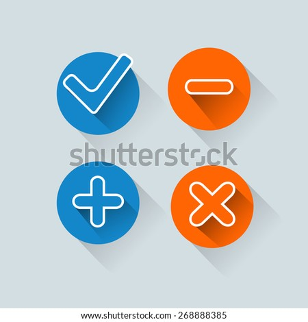 Four satined smooth validation stickers with drop gray shadow on white - stock vector