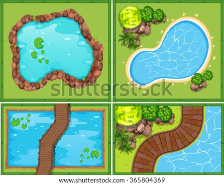 Four scene of pool and pond illustration - stock vector