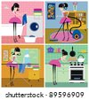 four scenes from the life of housewife: washing, vacuuming, ironing, baking - stock vector