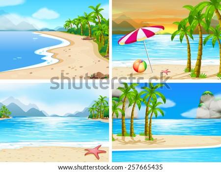 four scenes of beaches - stock vector