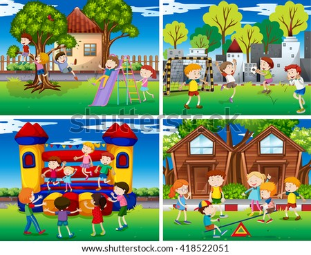 Four scenes of children playing in the park illustration - stock vector