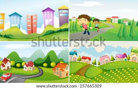 four scenes of city and countryside - stock vector