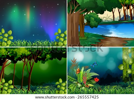 Four scenes of forest at night time - stock vector