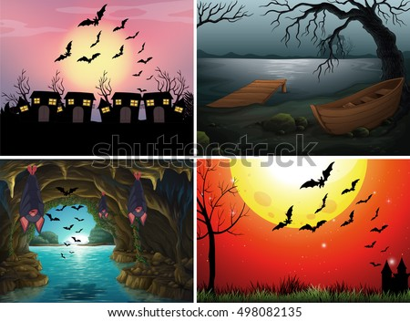 Four scenes with bats at night illustration
