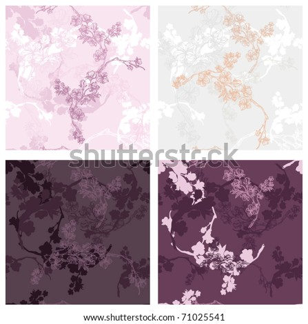 four seamless cherry flowers textures for your cute wrapping - stock vector
