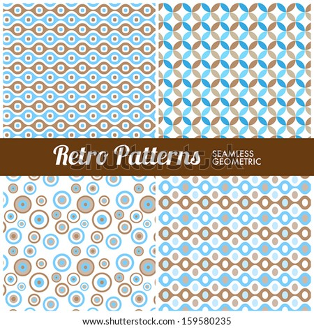 Four seamless geometric retro patterns for web or print - stock vector