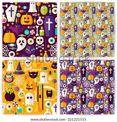 Four Seamless Halloween Party Patterns Collection. Flat Style Vector Seamless Texture Backgrounds. Collection of Halloween Holiday Templates. Trick or Treat - stock vector