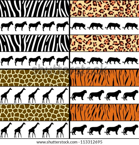 four seamless pattern animal skins - stock vector