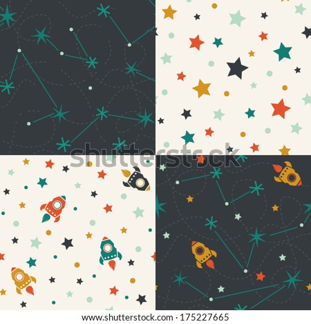 Four seamless pattern of planets, rockets and stars. Cartoon planet icons. Kid's elements for scrap-booking. Childish background. Hand drawn vector illustration.  - stock vector
