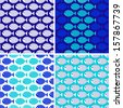 Four seamless patterns of fish. Design element for wallpapers, baby shower invitation, birthday card, scrapbooking, fabric print etc. Vector illustration. - stock vector