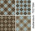 "Four seamless 6"" repeating vector argyle patterns in soft browns and light blue. - stock photo"