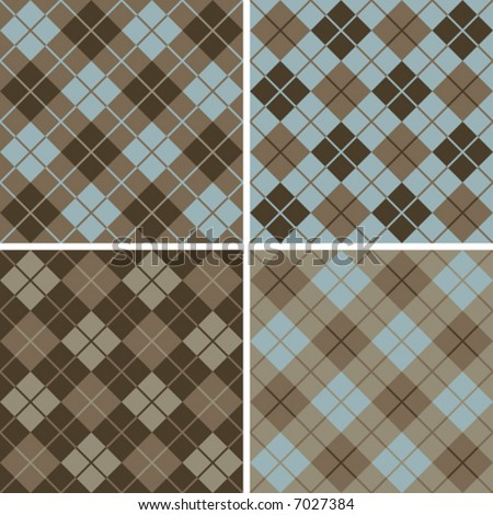 "Four seamless 6"" repeating vector argyle patterns in soft browns and light blue. - stock vector"