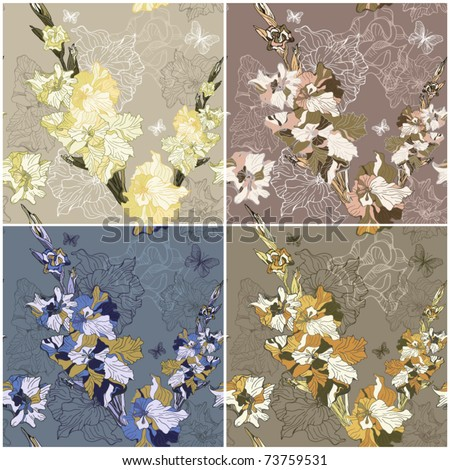 four seamless textures with spring summer flowers