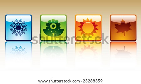 Four season icons - stock vector
