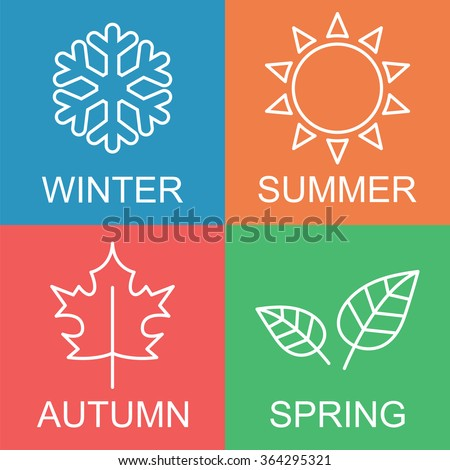 season long shadow flat vector symbols stock vector
