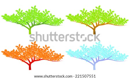 Four season stylized trees vector background concept- spring, summer, autumn and winter - stock vector