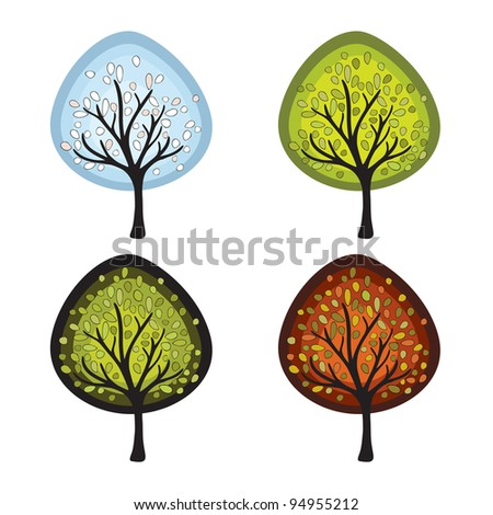 Four season trees isolated on white background. Vector illustration - stock vector