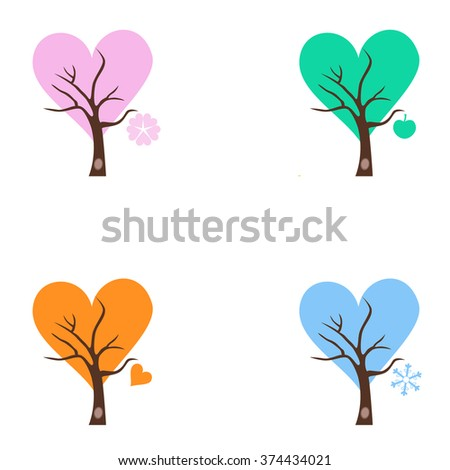 Four season trees with Singing Birds. Stylized happy cartoon illustration. Flat color vector design. Child theme.