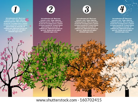 Four Seasons Banners with Abstract Trees Infographic - Vector Illustration - stock vector
