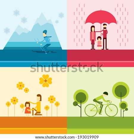 Four Seasons Banners with modern human sports Illustration - stock vector