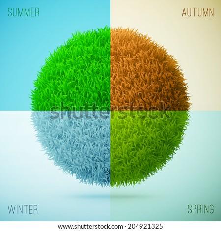 Four seasons collage. Spring, Summer, Autumn, Winter. Grass circle shape. eps10 vector illustration - stock vector