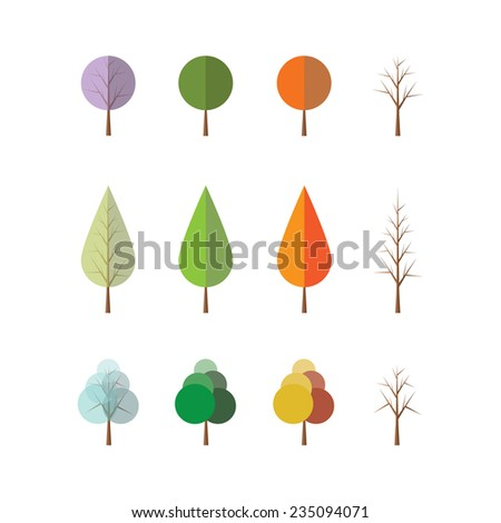 Four Seasons - Different Tree Designs - stock vector