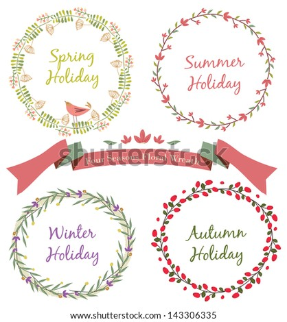 Four Seasons Floral Wreath - stock vector