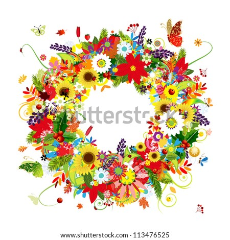 Four seasons, floral wreath for your design - stock vector
