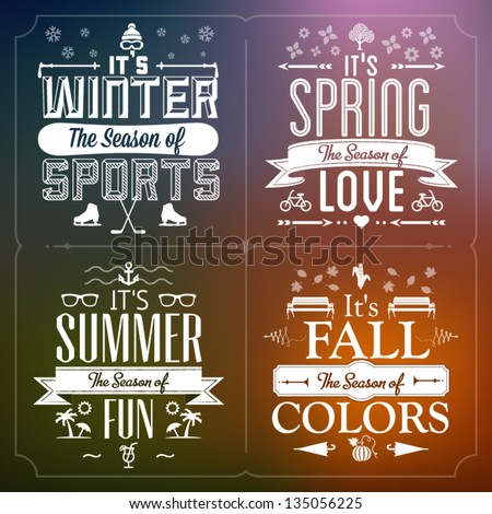 Four Seasons Graphic Illustration Vintage Greeting Cards - stock vector