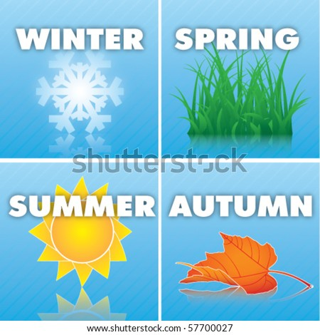 Four seasons icon - stock vector