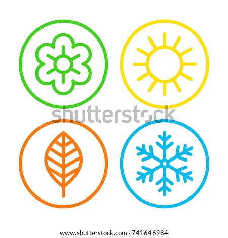 Four Seasons Icon Set Meteorological Astronomical Stock Vector Hd