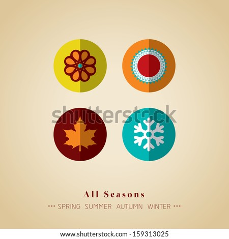 four seasons icon symbol vector illustration - stock vector