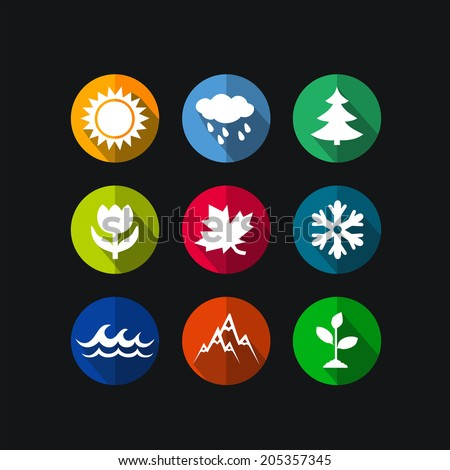 four seasons icon symbol vector illustration. Weather - stock vector