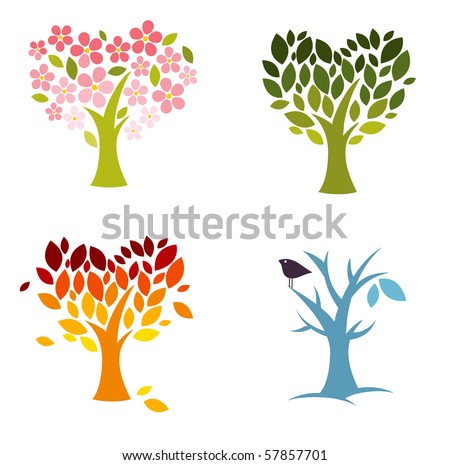 Four seasons of love - stock vector