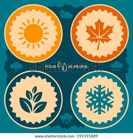 Four seasons poster design. Vector icons of leaf, snowflake and sun