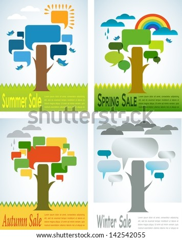 four seasons sale with four speech trees - stock vector