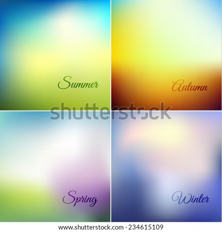 Four seasons -  smooth colorful backgrounds set - eps10 - stock vector