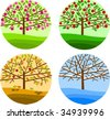 four seasons - spring, summer, autumn and winter - stock photo