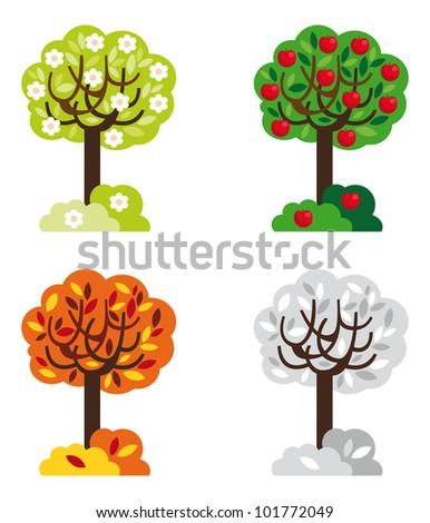 Four seasons, Spring, Summer, Autumn, Winter - stock vector