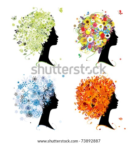 Four seasons - spring, summer, autumn, winter. Art female head for your design - stock vector
