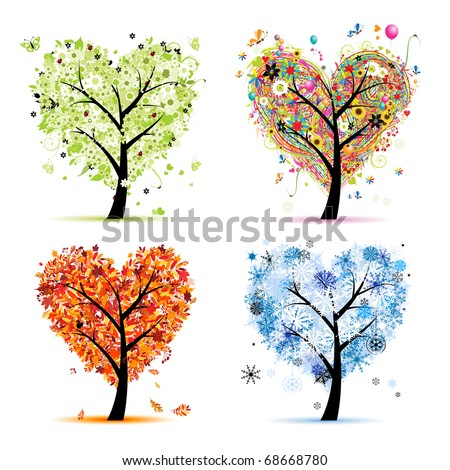Four seasons - spring, summer, autumn, winter. Art tree heart shape for your design - stock vector