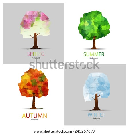 Four seasons - spring, summer, autumn, winter. Art tree triangle vector for your design. - stock vector