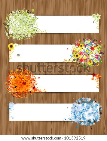 Four seasons - spring, summer, autumn, winter. Banners with place for your text - stock vector