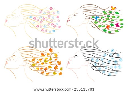 Four seasons - spring, summer, autumn, winter. Female head for design. EPS 8 - stock vector