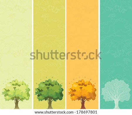 Four seasons - spring, summer, autumn, winter. Trees with green, yellow and orange leaves. Tree without leaves at winter.  - stock vector