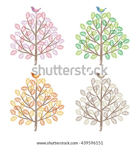 Four seasons, spring, summer, fall and winter, colorful trees and birds