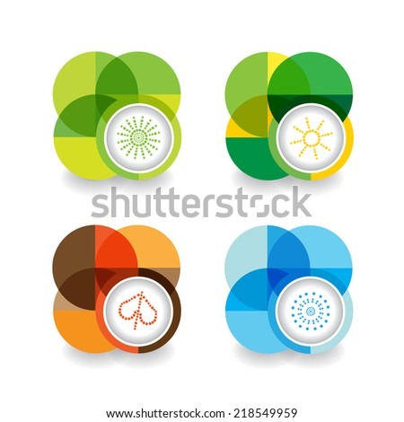 four seasons symbols - stock vector