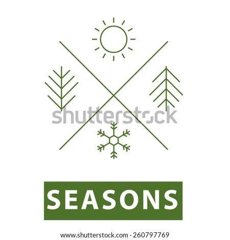 Four seasons thin line icon.Vector illustration. - stock vector